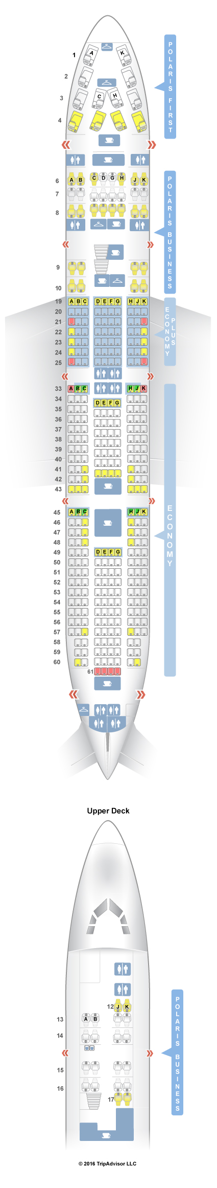 What is the seating plan on a Boeing 744 airplane?
