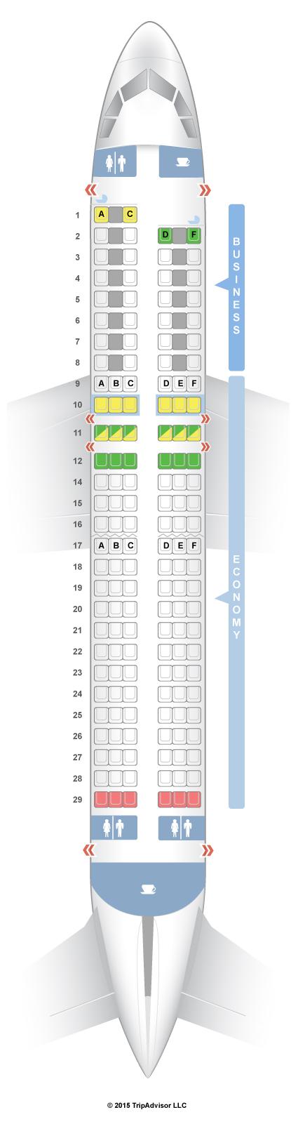 Seatguru seat map air france airbus a320 320 europe v1 for Interieur avion ryanair