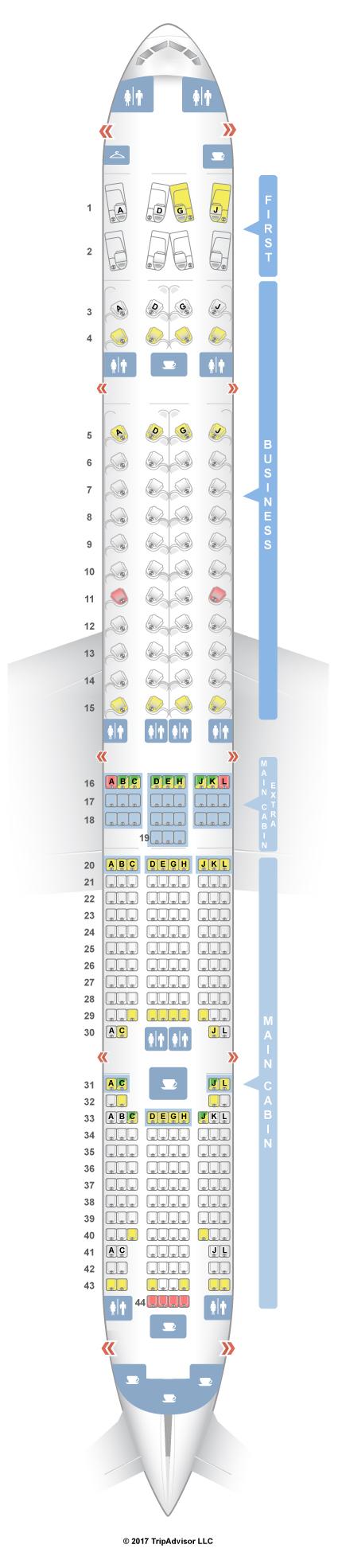 SeatGuru Seat Map American Airlines Boeing ER W - Us airways location map