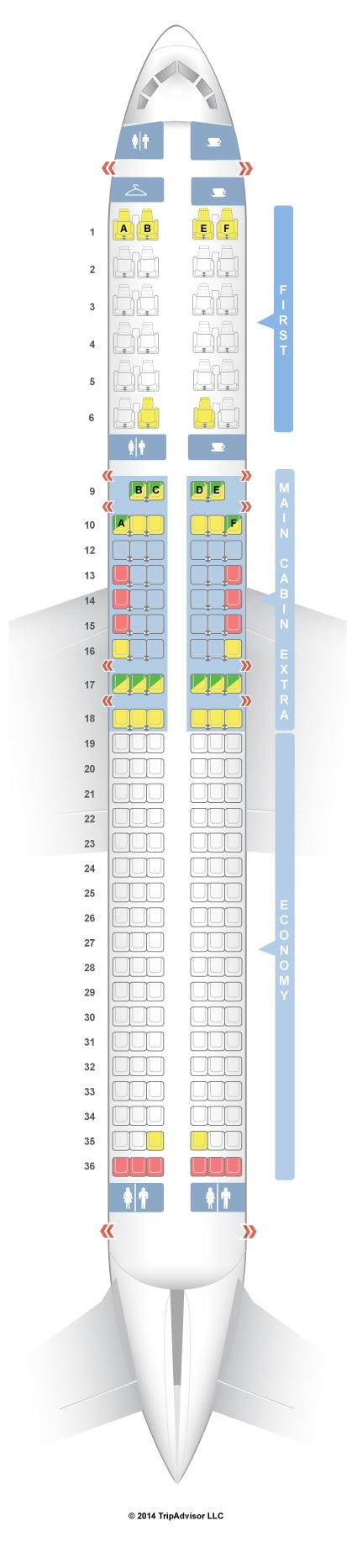 SeatGuru Seat Map American Airlines Boeing   Domestic MCE - Us airways location map