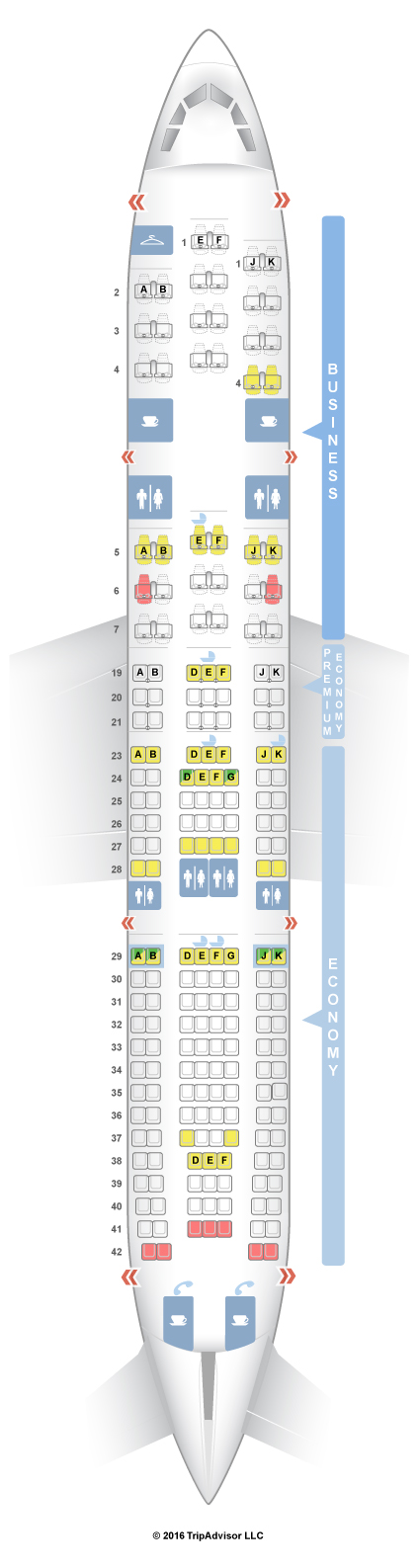 Seatguru seat map air france airbus a330 200 332 for Air france vol interieur