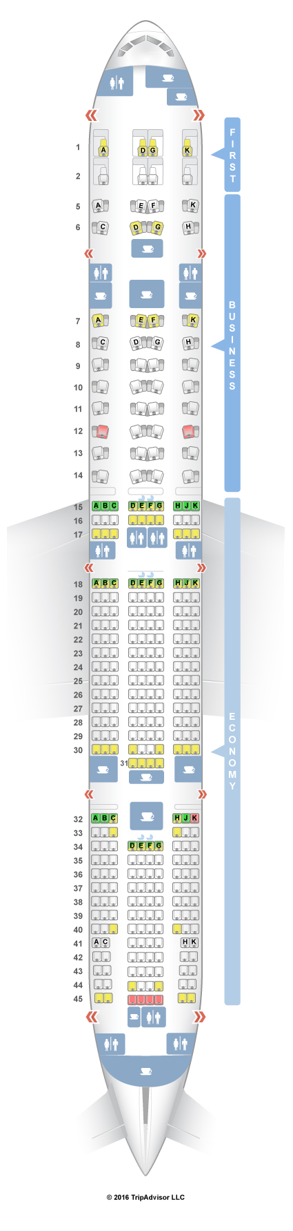 Seatguru seat map etihad boeing 777 300er 77w three class for Plan cabine 777 300er