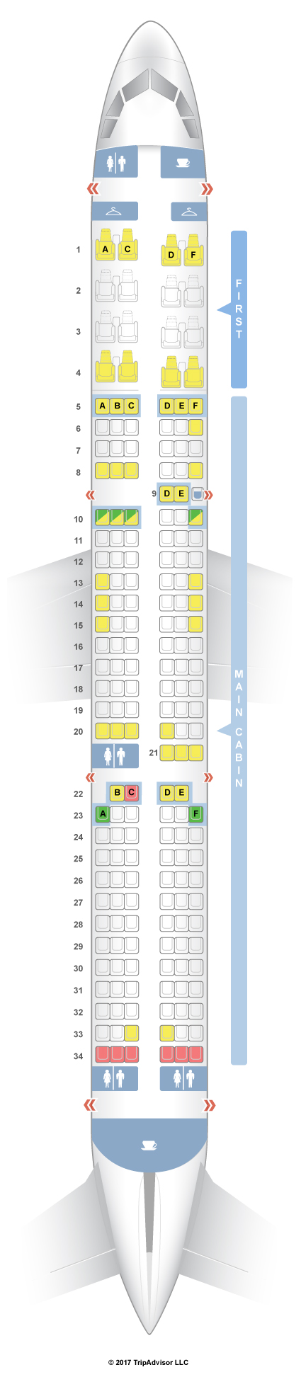 SeatGuru Seat Map American Airlines Airbus A321 321 V3 - Us Airways A321 Seat Map