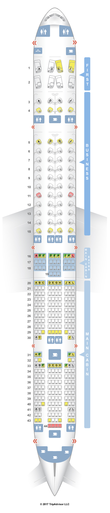 boeing 777 300 seat map with American Airlines 777 300 Er on Trip Report China Airlines 777 300er Economy Class November 2014 likewise Review Cathay Pacific A350 Business Class Hkg Dus together with China Eastern Brings First Class Boeing 777 To Sydney Melbourne additionally Plan Cabine LC Plan B777 200 316 Best in addition Qatar Airways Boeing B777 300er 358pax.