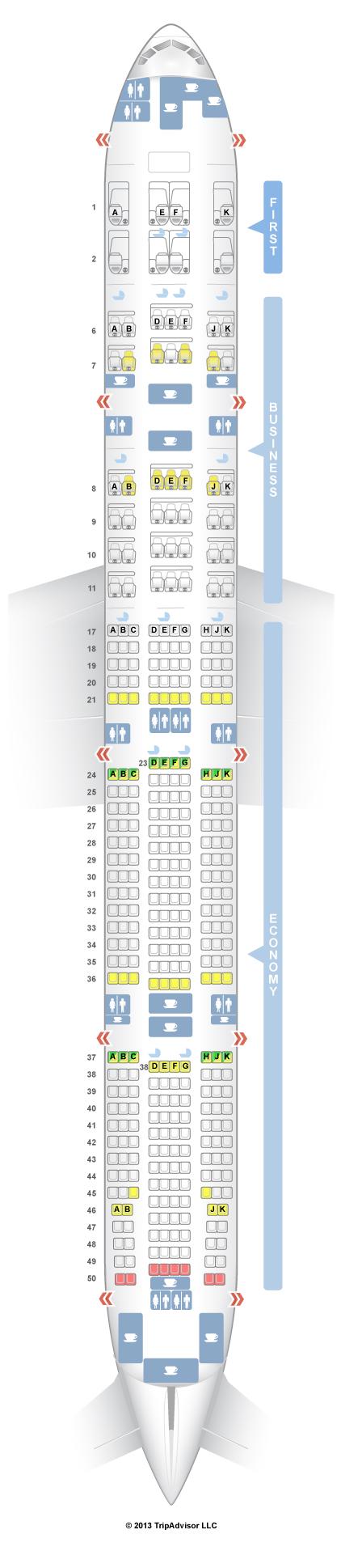 SeatGuru Seat Map Emirates Boeing 777 300ER (77W) Three Class V2