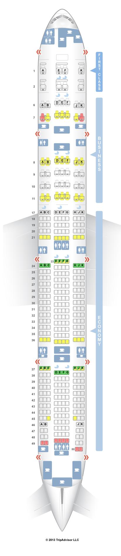 SeatGuru Seat Map Emirates Boeing 777 300ER (77W) Three Class V1