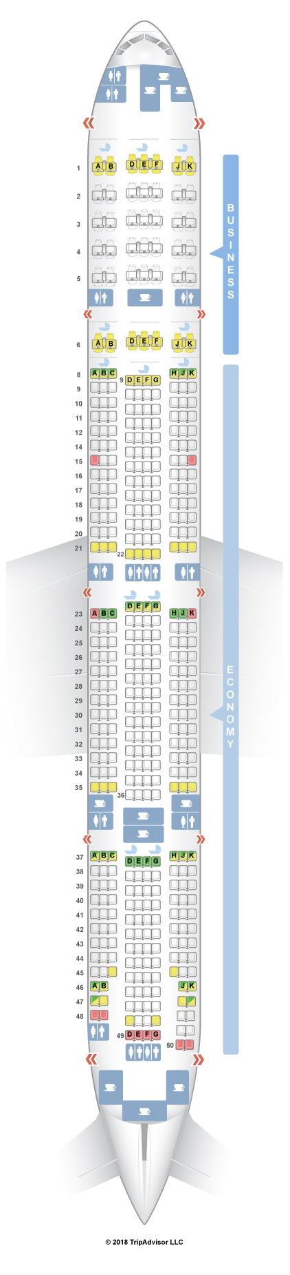 SeatGuru Seat Map Emirates Boeing 777 300ER (77W) Two Class