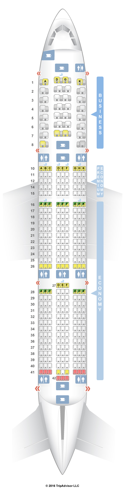 SeatGuru Seat Map Vietnam Airlines Airbus A350-900 (350) V1