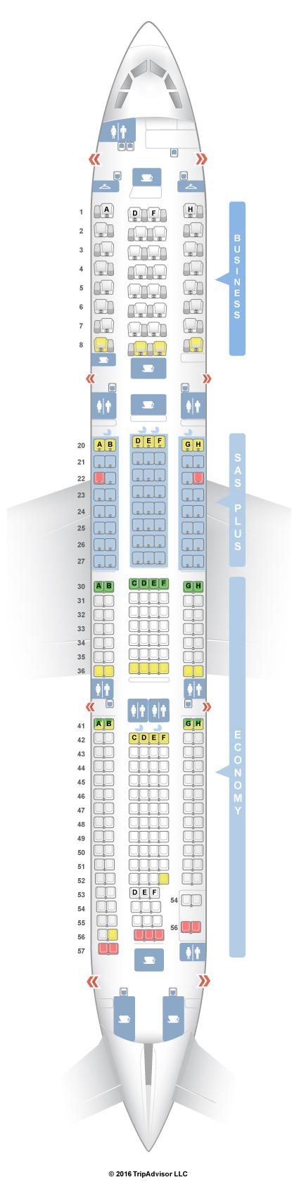 sas a340 seat map