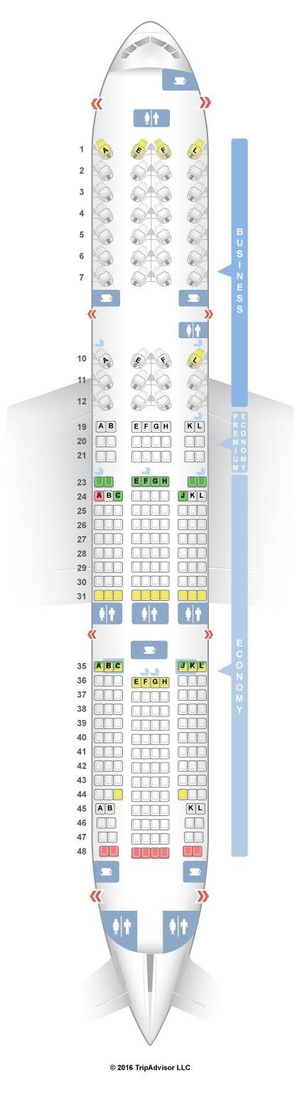 SeatGuru Seat Map Air France Boeing 777-200ER (772) Three Class V2