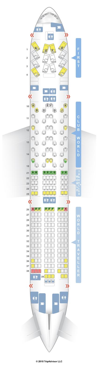 SeatGuru Seat Map British Airways Boeing 777-200 (772) Four Class