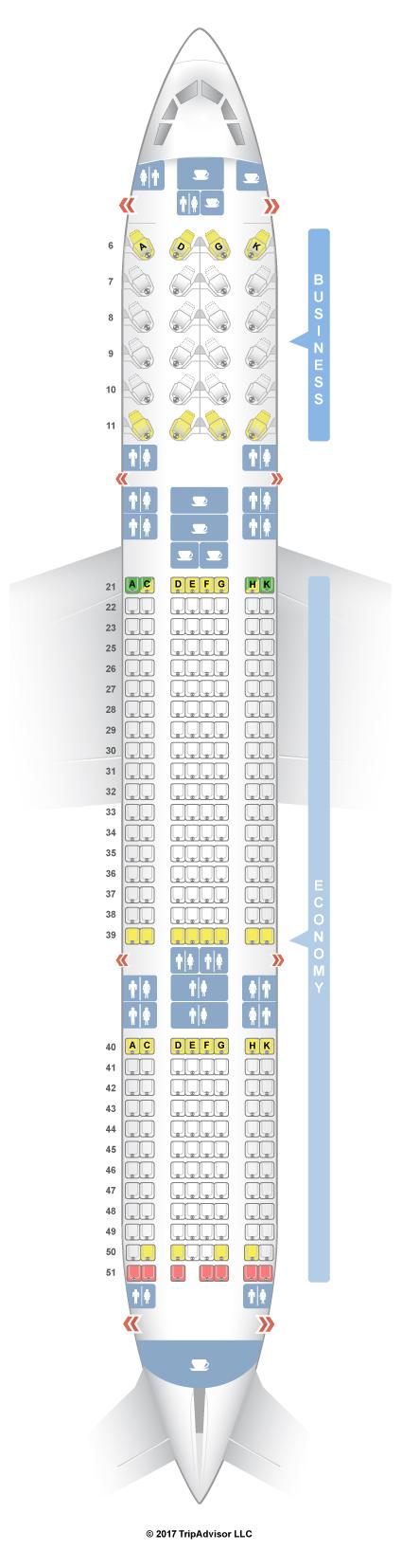 Seatguru Seat Map Garuda Indonesia Airbus A330 300 333 V2 Rh Com Air Canada Ai