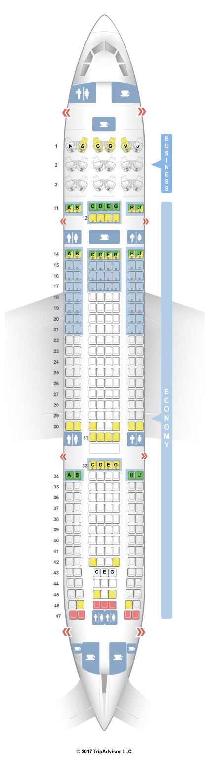 Seatguru seat map hawaiian airlines airbus a330 200 332