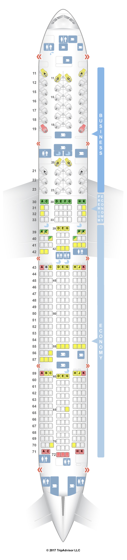 Cathay Pacific Seat Map SeatGuru Seat Map Cathay Pacific Boeing 777 300ER (77G) Three Class Cathay Pacific Seat Map