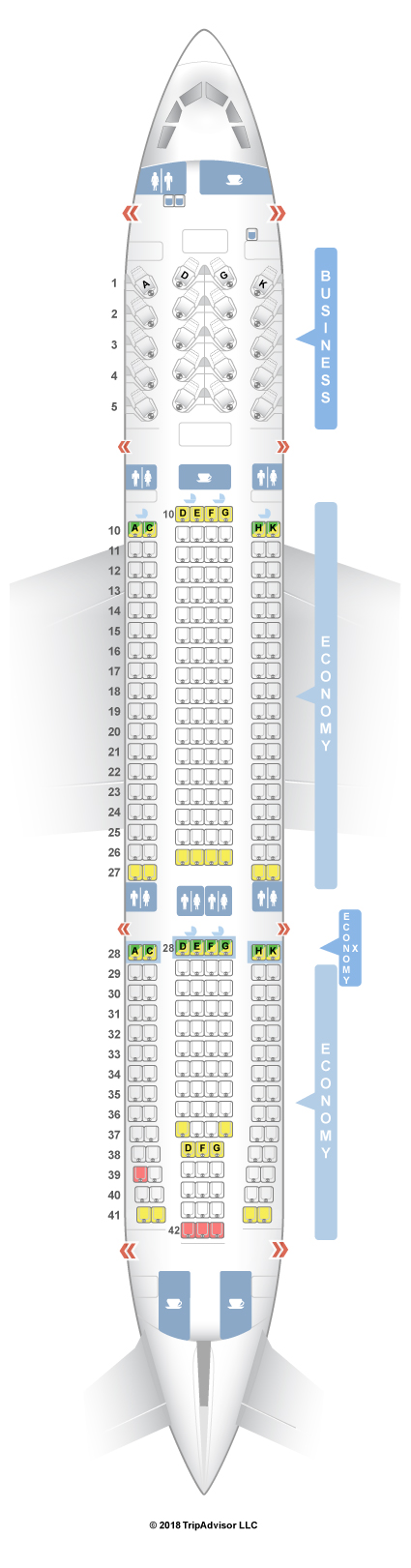 Delta A Seat Map on