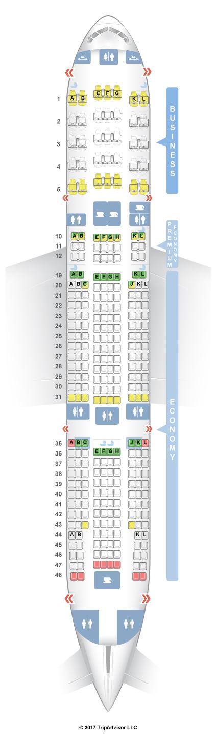 Seatguru seat map air france boeing 777 200er 772 three for Boeing 777 air france interieur