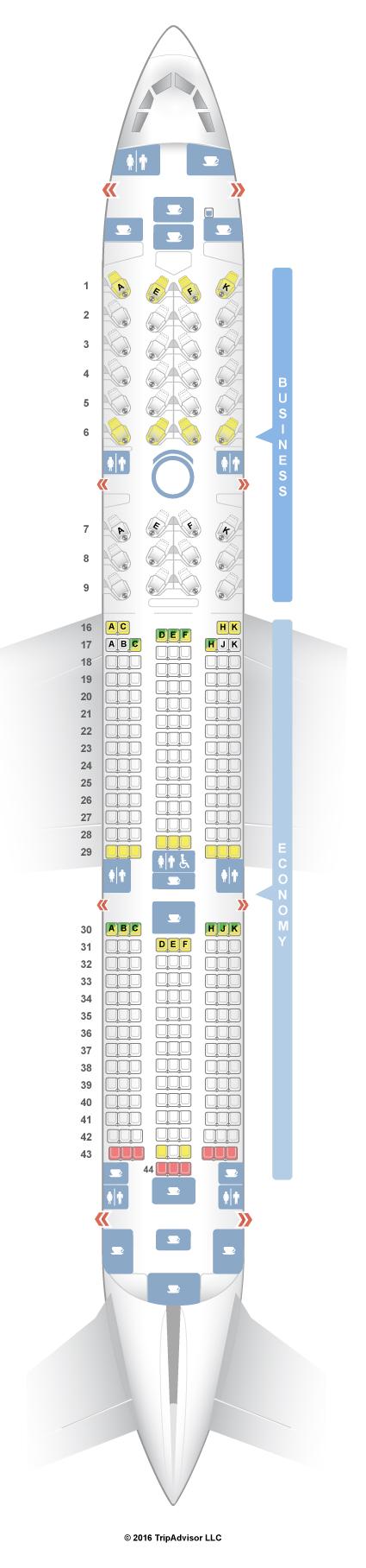 SeatGuru Seat Map Qatar Airways Airbus A350 (350)