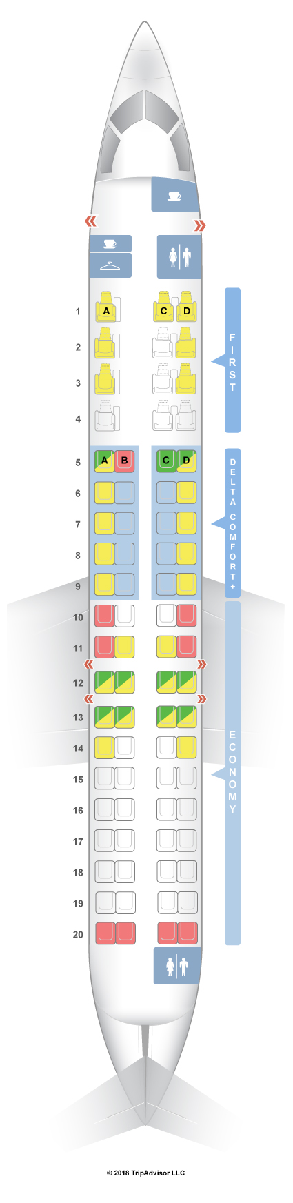 Seatguru Seat Map Delta Bombardier Crj 900 Cr9