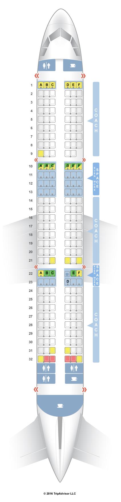SeatGuru Seat Map JetBlue Airbus A321 (321) V1