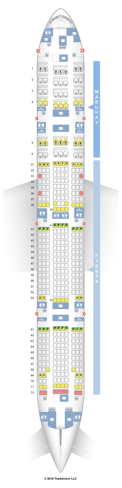 SeatGuru Seat Map Philippine Airlines Boeing ER - Japan airlines seat map 773