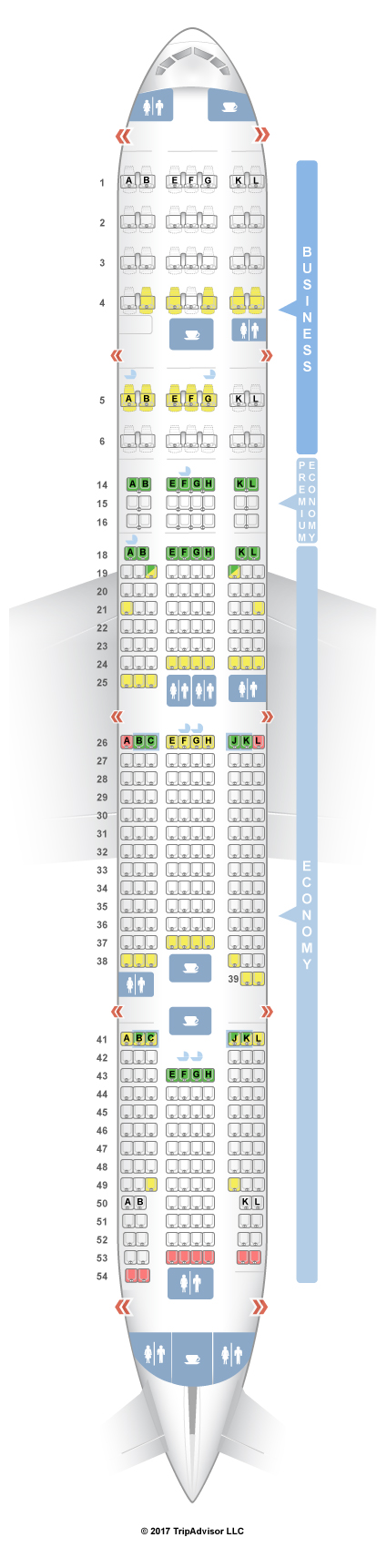Seatguru seat map air france boeing 777 300er 77w three for Interieur d avion air france
