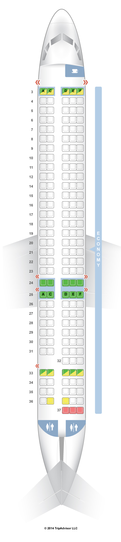 frontier airline planes seat chart