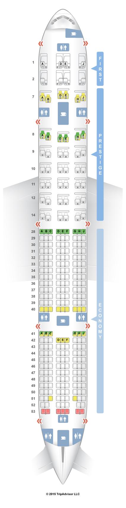 Seatguru seat map korean air boeing 777 300er 77w v1 for Plan cabine 777 300er