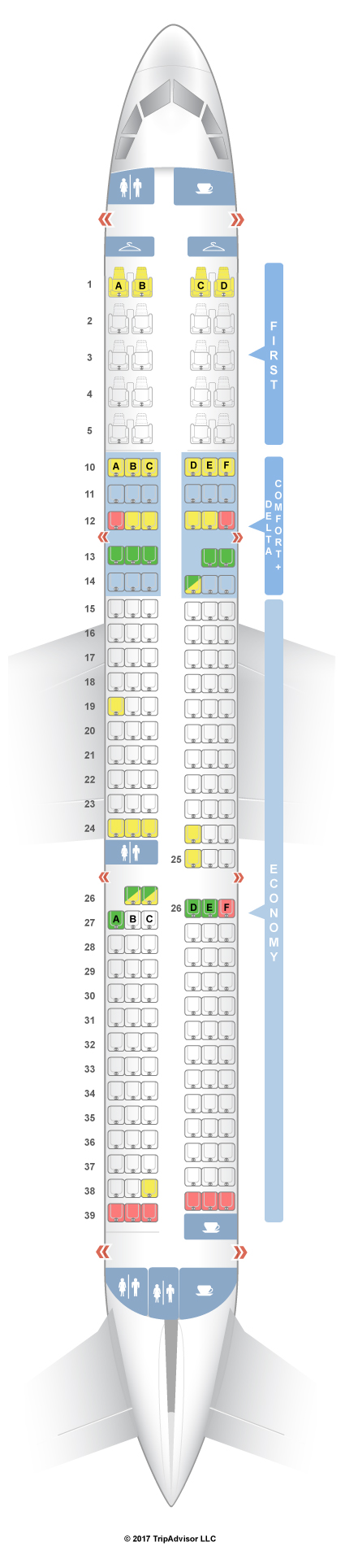 SeatGuru Seat Map Delta Airbus A - Us airways a321 seat map