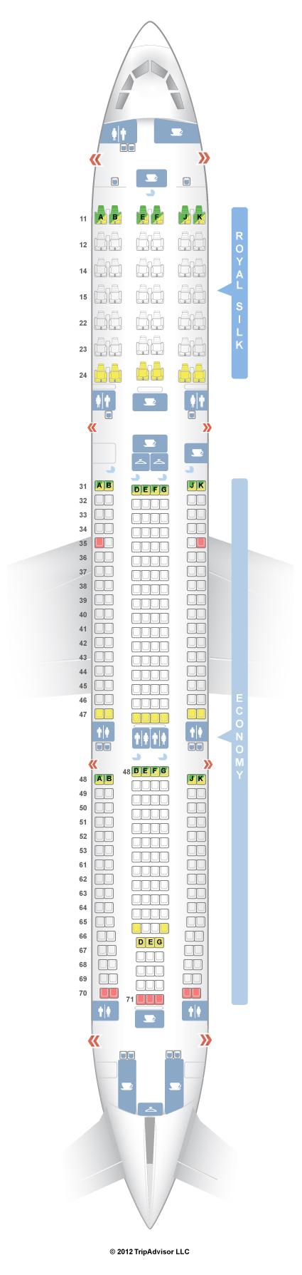 SeatGuru Seat Map THAI Airbus A V - Us airways seating map