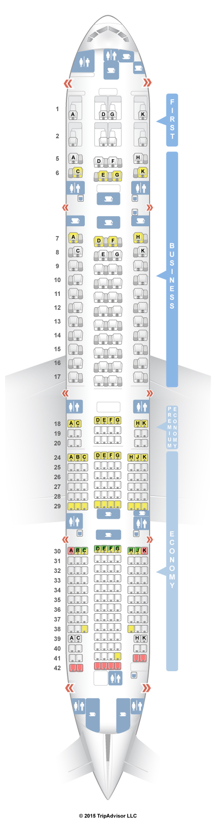 Seating plan boeing 777 300er qatar for Plan cabine 777 300er