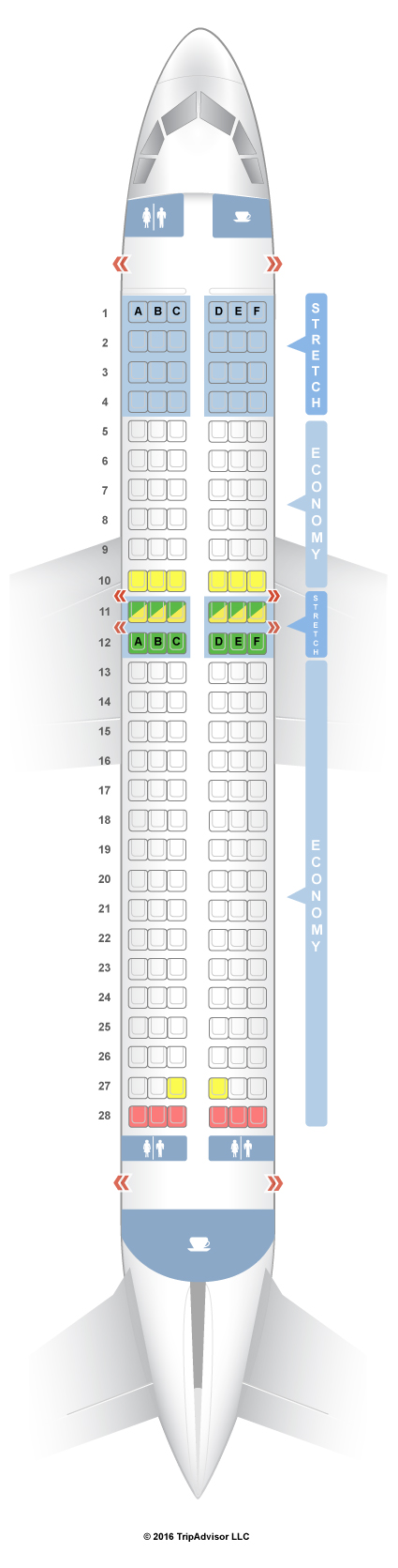 SeatGuru Seat Map Frontier Airbus A320 (320) V2