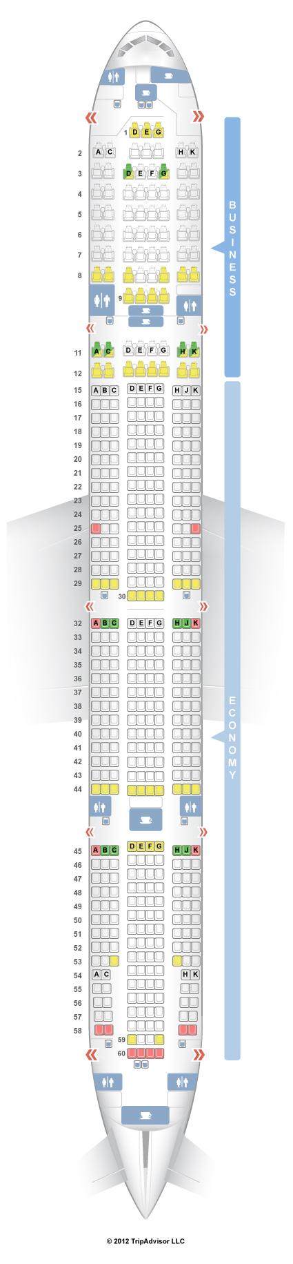 Seatguru seat map japan airlines boeing 777 300 773 for Plan cabine 777 300er
