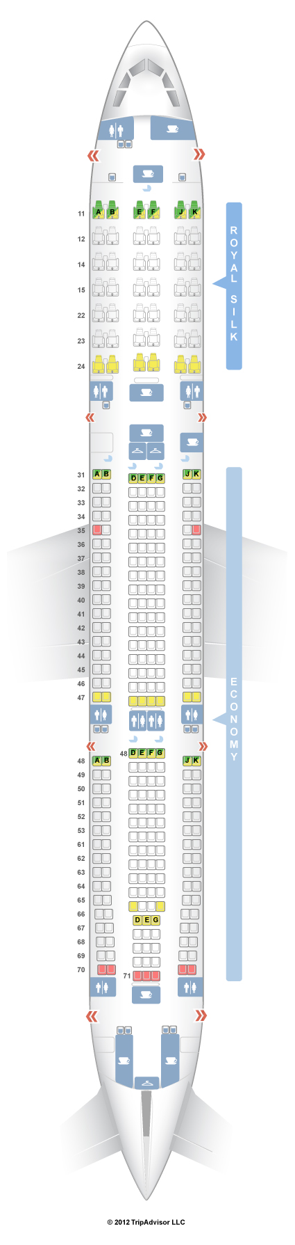 SeatGuru Seat Map THAI Airbus A V - Us airways seat map