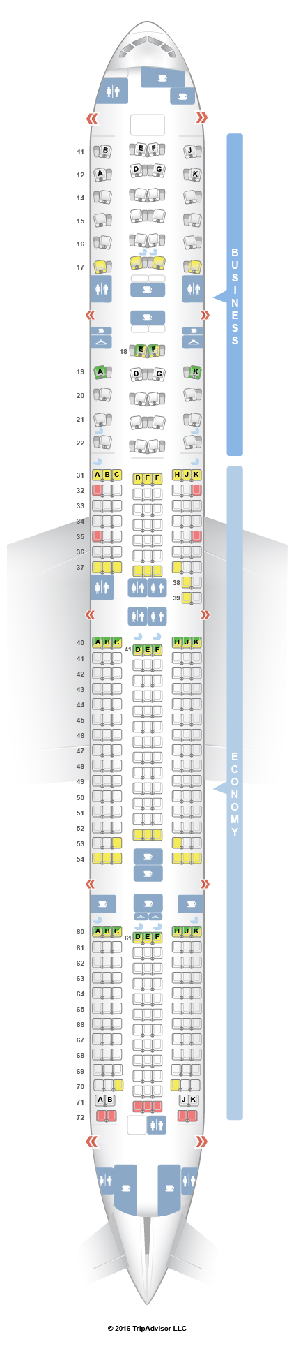 Seatguru seat map thai boeing 777 300er 77w for Plan cabine 777 300er
